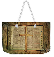 Weekender Tote Bag featuring the digital art Palm Branch Cross And Bible by Randy Steele