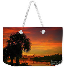 Palm Silhouette Sunrise Weekender Tote Bag