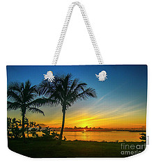 Palm Tree And Boat Sunrise Weekender Tote Bag