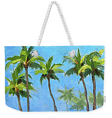 Weekender Tote Bag featuring the painting Palm Tree Plein Air Painting by Karen Whitworth