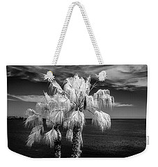 Weekender Tote Bag featuring the photograph Palm Trees At Laguna Beach In Infrared Black And White by Randall Nyhof