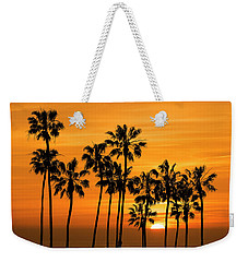Weekender Tote Bag featuring the photograph Palm Trees At Sunset By Cabrillo Beach by Randall Nyhof