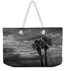 Weekender Tote Bag featuring the photograph Palm Trees By Borrego Springs In Black And White by Randall Nyhof