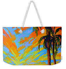 Weekender Tote Bag featuring the painting Florida Palm Trees, Tropical Beach, Colorful Sunset Painting by Patricia Awapara