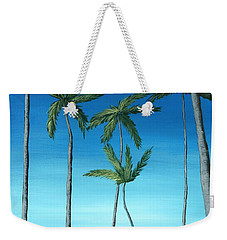 Weekender Tote Bag featuring the painting Palm Trees On Blue by Anastasiya Malakhova