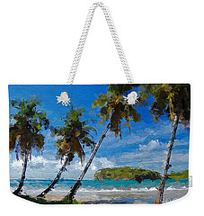 Palm Trees On Sandy Beach Weekender Tote Bag by Anthony Fishburne