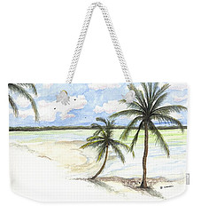 Weekender Tote Bag featuring the painting Palm Trees On The Beach by Darren Cannell