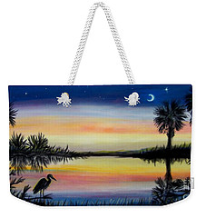 Palmetto Tree And Moon Low Country Sunset Weekender Tote Bag by Patricia L Davidson