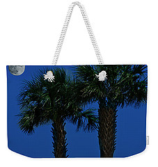 Weekender Tote Bag featuring the photograph Palms And Moon At Morse Park by Bill Barber