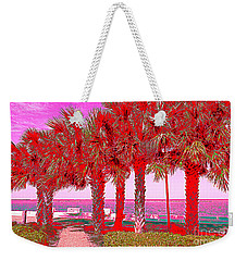 Palms In Red Weekender Tote Bag