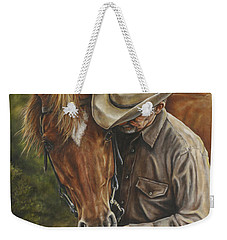Weekender Tote Bag featuring the painting Pals by Kim Lockman