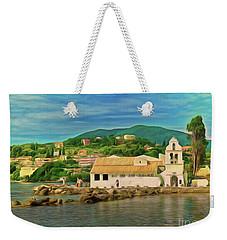 Weekender Tote Bag featuring the photograph Panagia Vlacherna Church - Pontikonisi - Corfu by Leigh Kemp