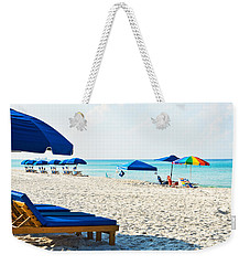 Panama City Beach Florida With Beach Chairs And Umbrellas Weekender Tote Bag