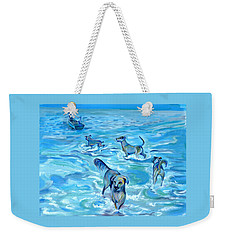 Weekender Tote Bag featuring the painting Panama. Salted Dogs by Anna  Duyunova