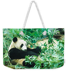 Weekender Tote Bag featuring the painting Panda 1 by Lanjee Chee