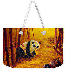 Panda In Sunset Bamboo Weekender Tote Bag by Laura Iverson