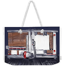 Weekender Tote Bag featuring the painting Panel Saw by Jean Pacheco Ravinski