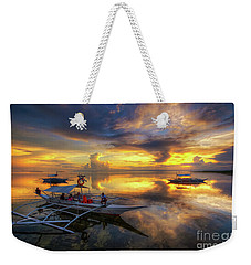 Weekender Tote Bag featuring the photograph Panglao Port Sunset 10.0 by Yhun Suarez