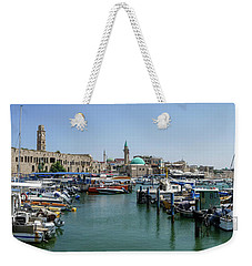 Weekender Tote Bag featuring the photograph Panorama In Acre Harbor by Arik Baltinester