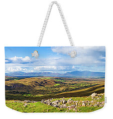 Weekender Tote Bag featuring the photograph Panorama Of A Colourful Undulating Irish Landscape In Kerry by Semmick Photo