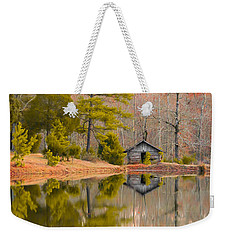 Panorama Of Cabin By The Lake Weekender Tote Bag by Shelby  Young