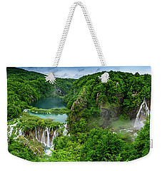 Panorama Of Turquoise Lakes And Waterfalls - A Dramatic View, Plitivice Lakes National Park Croatia Weekender Tote Bag