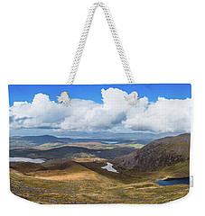 Panorama Of Valleys And Mountains In County Kerry On A Summer Da Weekender Tote Bag by Semmick Photo