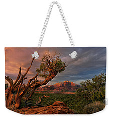 Weekender Tote Bag featuring the photograph Panorama Storm Back Of Zion Near Hurricane Utah by Dave Welling