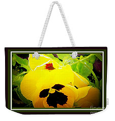 Weekender Tote Bag featuring the photograph Pansey Crush by Shirley Moravec