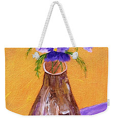 Pansies In Brown Vase Weekender Tote Bag by Jamie Frier