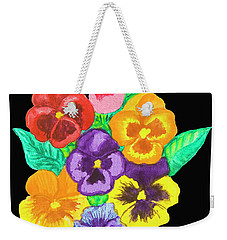 Pansies On Black Weekender Tote Bag