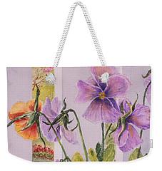Pansies On My Porch Weekender Tote Bag by Mary Ellen Mueller Legault