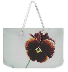 Weekender Tote Bag featuring the photograph Pansy Face by Karen Stahlros