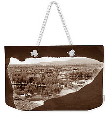 Weekender Tote Bag featuring the photograph Papago Park Rock Window 1950s by Marilyn Hunt