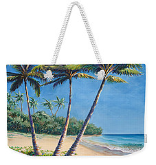 Tropical Paradise Landscape - Hawaii Beach And Palms Painting Weekender Tote Bag