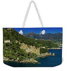 Paraggi Bay Castle And Liguria Mountains Portofino Park  Weekender Tote Bag