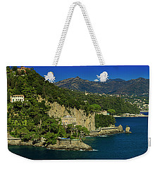 Weekender Tote Bag featuring the photograph Paraggi Bay Castle And Liguria Mountains Portofino Park  by Enrico Pelos