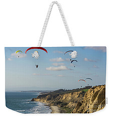 Paragliders At Torrey Pines Gliderport Over Black's Beach Weekender Tote Bag