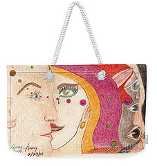 Weekender Tote Bag featuring the drawing Paranoia by Rod Ismay
