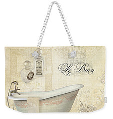 Parchment Paris - Le Bain Or The Bath Chandelier And Tub With Roses Weekender Tote Bag by Audrey Jeanne Roberts
