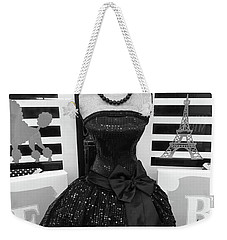 Weekender Tote Bag featuring the photograph Paris Ballerina Costume Black And White French Decor - Parisian Ballet Art Black And White Art Deco by Kathy Fornal