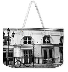 Weekender Tote Bag featuring the photograph Paris Bicycle Street Lanterns Architecture Black And White Art Deco - Paris Black White Home Decor by Kathy Fornal