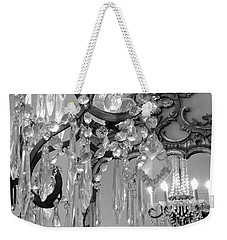 Weekender Tote Bag featuring the photograph Paris Black And White Crystal Chandelier Mirrored Wall Decor -parisian Black White Chandelier Prints by Kathy Fornal