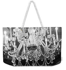 Paris Black And White Crystal Chandeliers - French Parisian Black White Crystal Chandelier Art Weekender Tote Bag