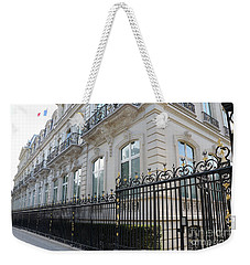 Weekender Tote Bag featuring the photograph Paris Black Iron Ornate Gate To Parc Monceau - Parisian Gates  by Kathy Fornal