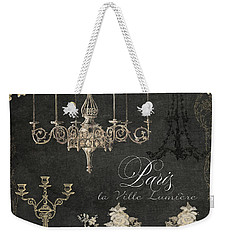 Paris - City Of Light Chandelier Candelabra Chalk Weekender Tote Bag
