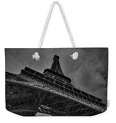 Weekender Tote Bag featuring the photograph Paris - Eiffel Tower 001 Bw by Lance Vaughn