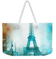 Paris Eiffel Tower Aqua Impressionistic Abstract Weekender Tote Bag