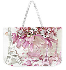Weekender Tote Bag featuring the photograph Paris Eiffel Tower Spring Magnolia Flower Blossoms - Paris Pink White Spring Blossoms  by Kathy Fornal