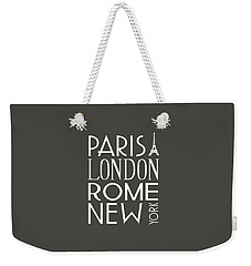 Paris, London, Rome And New York Pillow Weekender Tote Bag by Jaime Friedman